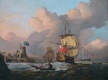 Royal Man-of-War & Naval Ships near a Castle